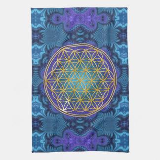 Flor de la vida - oro - fractal 1 toallas de cocina