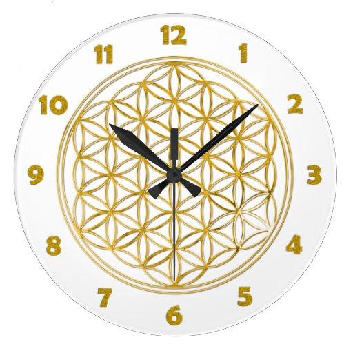 FLOR DE LA VIDA - oro + números de la cara de relo Reloj