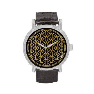 Flor de la vida - oro relojes