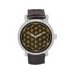 Flor de la vida - oro reloj de mano