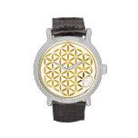 Flor de la vida - oro - sello reloj
