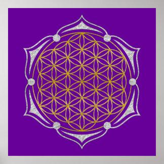Flor de la vida - plata del oro de Lotus Impresiones