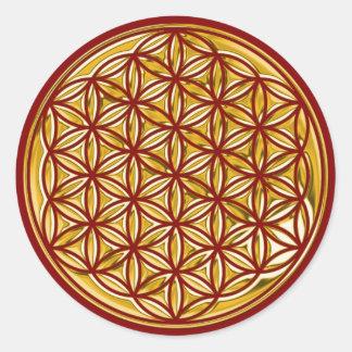 Flor de la vida/por completo del oro el | rojo pegatina redonda