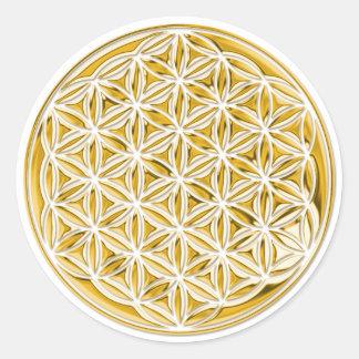 Flor de la vida/por completo del oro pegatina redonda