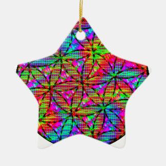 Flor de la vida psicodélica adorno navideño de cerámica en forma de estrella