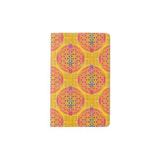 Flor de la vida - rosa inconsútil del oro + funda para libreta y libreta pequeña moleskine