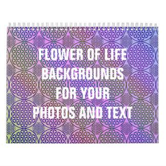 Flor de la vida - selle el modelo 3 del grunge calendario de pared