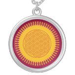 Flor de la vida - soleado amarillo collar personalizado