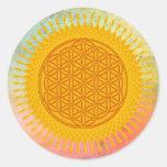 Flor de la vida - soleado amarillo pegatinas