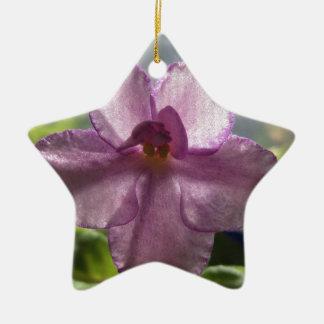 Flor de la violeta africana de la lavanda adorno navideño de cerámica en forma de estrella