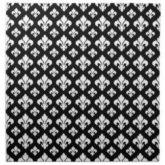 Flor de lis 2 blanco y negro servilleta imprimida