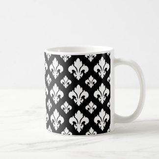 Flor de lis 2 blanco y negro tazas
