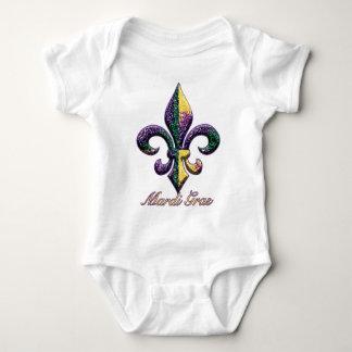 Flor de lis 2 de la gota del carnaval body para bebé