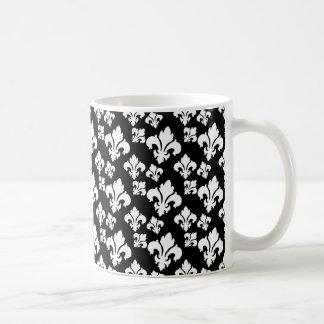 Flor de lis 4 blanco y negro taza de café