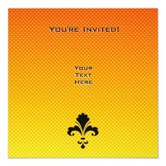 """Flor de lis amarillo-naranja invitación 5.25"""" x 5.25"""""""