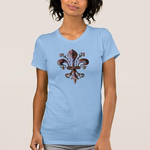 Flor de lis antigua de New Orleans metálica Camisetas
