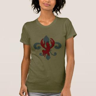 Flor de lis azul apenada, cangrejo camiseta