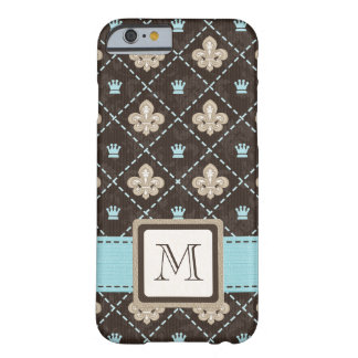 Flor de lis azul con monograma funda de iPhone 6 barely there