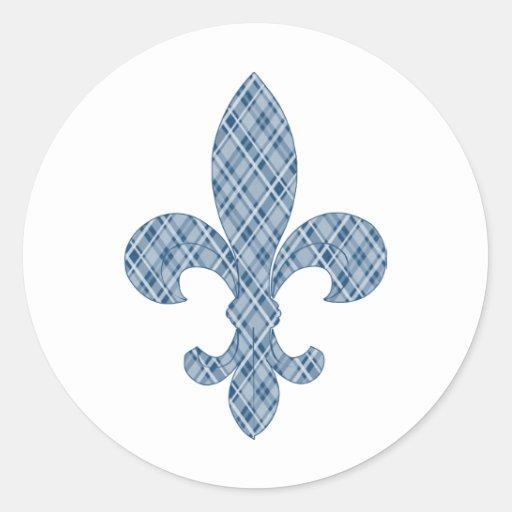 Flor de lis azul de la tela escocesa pegatina redonda