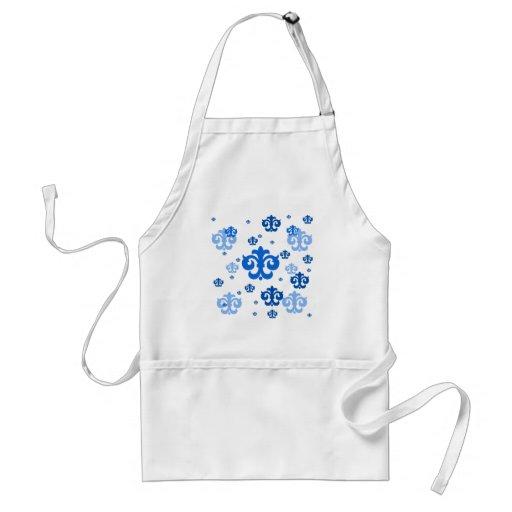 Flor de lis azul dispersada alrededor delantal