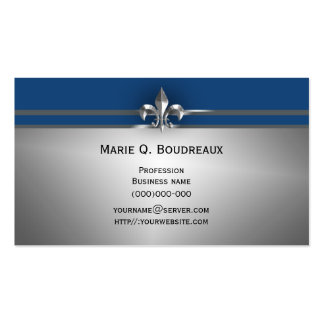 Flor de lis azul gris moderna tarjetas personales