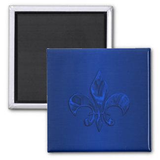 Flor de lis azul imán cuadrado