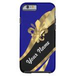 Flor de lis azul marino y del oro funda de iPhone 6 tough