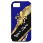 Flor de lis azul marino y del oro iPhone 5 carcasas