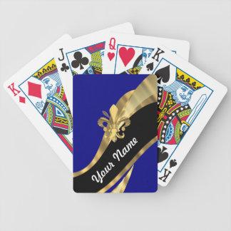 Flor de lis azul marino y del oro cartas de juego
