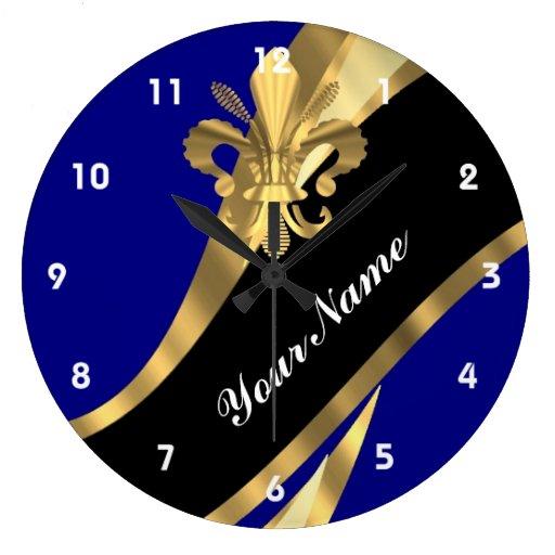 Flor de lis azul marino y del oro reloj