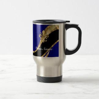 Flor de lis azul marino y del oro taza de viaje