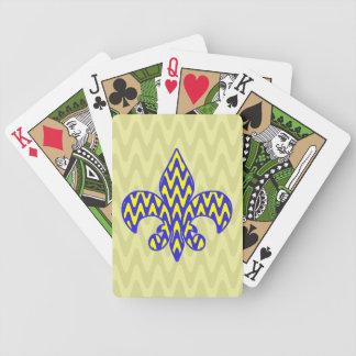 Flor de lis azul y amarilla baraja cartas de poker