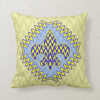 Flor de lis azul y amarilla almohadas