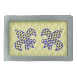 Flor de lis azul y amarilla hebilla cinturon rectangular