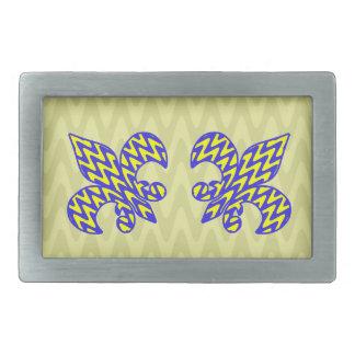 Flor de lis azul y amarilla hebilla cinturón rectangular