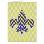 Flor de lis azul y amarilla tarjeta de felicitación
