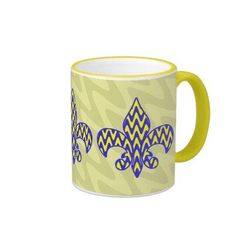 Flor de lis azul y amarilla taza a dos colores