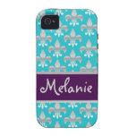 Flor de lis azul y de plata personalizada iPhone 4 funda