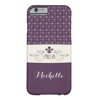 Flor de lis blanca púrpura elegante funda para iPhone 6 barely there