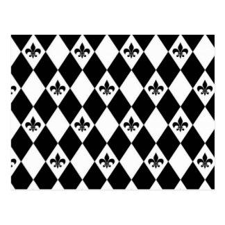 Flor de lis blanco y negro tarjetas postales