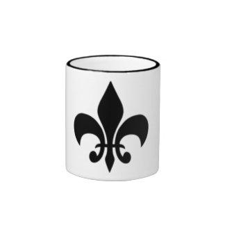Flor de lis blanco y negro tazas de café