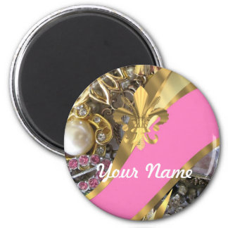 Flor de lis bling del oro imán redondo 5 cm
