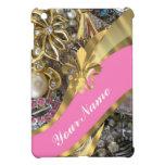 Flor de lis bling del oro iPad mini funda