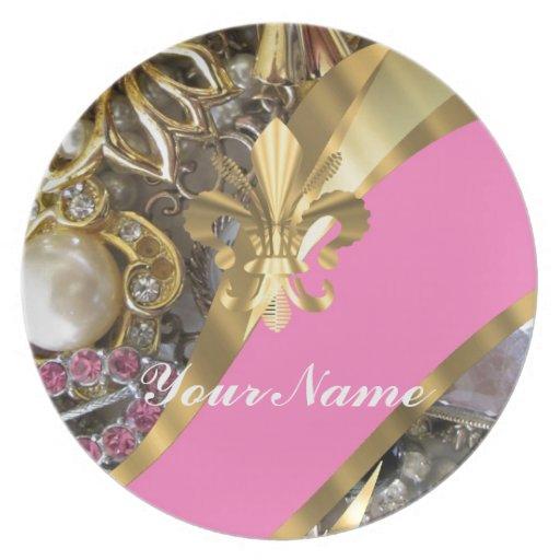 Flor de lis bling del oro plato