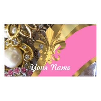 Flor de lis bling del oro tarjetas de visita