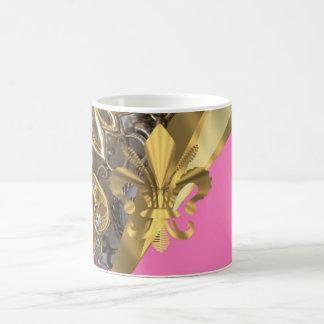 Flor de lis bling del oro taza básica blanca