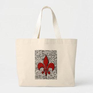flor de lis bolsa tela grande