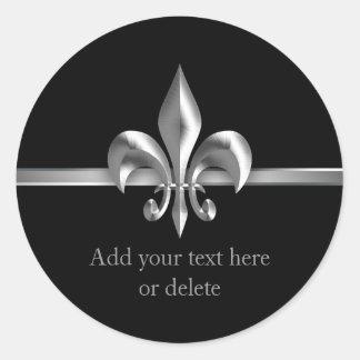 Flor de lis cepillada de la plata del estilo del etiquetas redondas