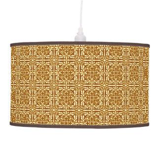 Flor de lis, cobre y crema medievales del damasco lámpara de techo