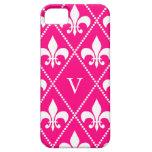 Flor de lis color de rosa con el monograma iPhone 5 Case-Mate cárcasa